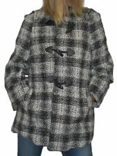 Womens Duffel Coat Wool Tweed With Glitter Shimmer Black and White 8-14