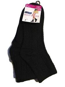 NWT NO NONSENSE WOMENS SHOE SIZE 4-10 2 PK BOOT SOCKS BLACK CHEVRON LOW RISE