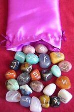 Multistone Spiritual Gemstone Gift Rune Alphabet Symbol Reiki Healing Crystal