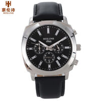 HOLUNS Men's Sport Quartz Watch Waterproof Leather Strap Fashion Wristwatch Gift
