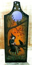 ORIGINAL HAND PAINTED PAINTING HALLOWEEN Black CAT PAPER TOWEL HOLDER RYTA OOAK