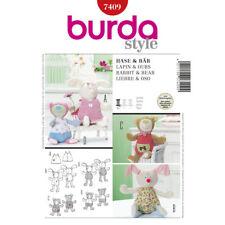 Burda Style Easy SEWING PATTERN 7409 Bunny Rabbit & Bear Toys