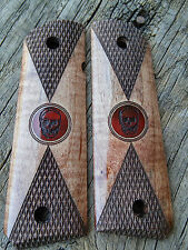 1911 Grips Checkered Maple with Redheart Skull Inlay Government Full Size