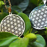 Flower of Life Pendant Sacred Geometry Silver Chain Necklace Tassel Earrings