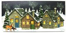 Country Cabins Deer Picture on Canvas with Led Lights Wall Art Christmas Decor