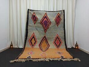 "Turquoise Moroccan Berber Boujad Rug 5'7""x 8'23"" Vintage Handmade Diamond Carpet"