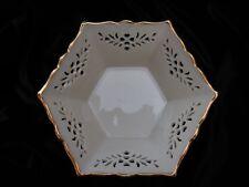 Lenox Shelburne Hexagon Bowl Gold Trim Pierced Ivory Excellent Condition