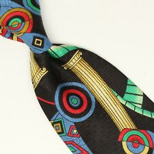 Tino Cosma Silk Necktie Black Green Blue Red Yellow Geometric Print Tie Italy