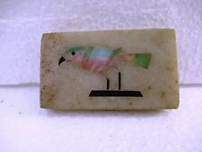"""Antique Paperweight Marble Pieces Inlay Exclusive Bird Sparrow Rare Collectibl""""F"""