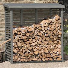 Kaminholzregal aus Holz mit Rückwand Holzlager für ca. 2 m³ Kaminholzunterstand