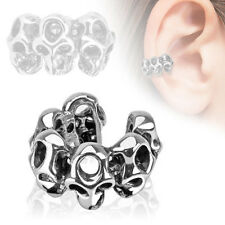 Skull Design Rohdium Plated Brass Ear Cuff