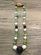 """BRANIA VINTAGE 1960/70'S BEADED GREEN & BLUE NECKLACE ACORN CLASP 10"""" L"""