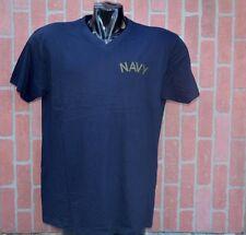 US-NAVY T SHIRT- V NECK NAVY-BLUE SIZE  X-LARGE