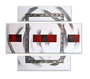 ORIGINAL Abstrakt HANDGEMALT  Leinwand Bild Bild modern XXL Bilder Acrylbild Rot