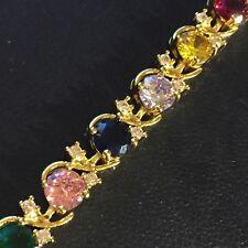 "GB 18k gold filled 7.25"" bracelet multi colour Swarovski Elements BOXED Plum UK"
