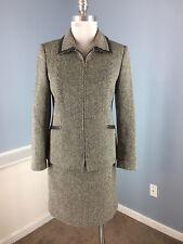 Talbots 2 P Wool Silk Blend Black Ivory woven Tweed Skirt Suit Leather Trim EUC