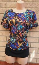 MARKS SPENCER BLACK PURPLE MULTI COLOR CHECKED FLORAL BLOUSE TUNIC TOP 8 S