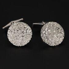 VTG Sterling Silver - Textured Freeform Round Solid Men's Cufflinks - 11g