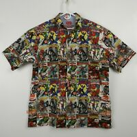 Ecko Rare Spiderman Marvel All Over Comic Book Print Men's Button Up Shirt Sz L
