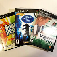 PS2 Music Lot - Singstar 90s, Band Hero & American Idol - All Complete - Karaoke