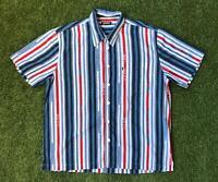 90s Vintage LERROS Mens 90s Stripe Shirt Large L | Short Sleeve