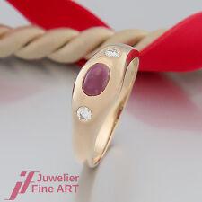 RING mit Rubin und 2 Brillant(en)-Diamant ca. 0,11ct - 18K/750 Gelbgold