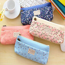 Flower Floral Canvas Pen Pencil Cases Makeup Bags Stationery Pouch for Students