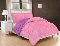 3-Piece Reversible Down Alternative Comforter Set and Shams Pink / Purple Color
