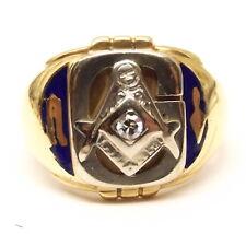 Vtg 14K Gold Masonic Sapphire Signet Ring Sz 9.25 Blue Enamel Free Mason Heavy