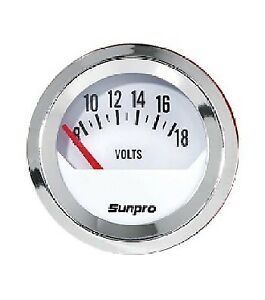 "Sunpro 2"" Voltmeter 0-18 V White, Chrome Bezel New CP8205 Authorized Distributor"