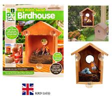 BIRD WATCH WOODEN SECRET BIRDHOUSE Garden Birds House Nest Nesting Feeder Gift