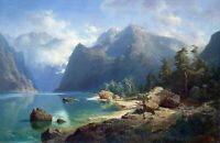 Norwegian Fjord by August Leu. Landscape Art Made in U.S.A Giclee Prints
