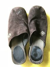 Authentic Chanel Clogs Chocolate Brown Suede Wooden Bottom Size 39