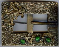 ANTIGUO 585ms Art Nouveau Adorno Griffin Vidrio Verde Diseño De Hebilla SASH PIN