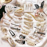 Fashion Girls Bling Crystal Pearl Hair Clips Barrette Hairpins Hair Accessories