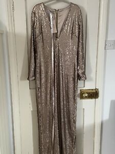 House Of CB London, New Large Gold Sequin Dress