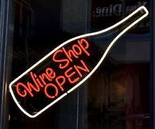 """New Wine Shop Open Bottle Neon Light Sign 24""""x20"""" Lamp Poster Real Glass"""