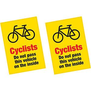 2 x Cyclists Do Not Pass on the Inside Vinyl Sticker HGV Lorry Van Warning