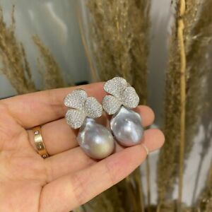 gorgeous 20-25mm south sea baroque silver grey pearl earring 925s