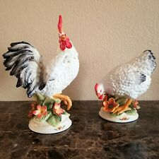 """Fitz And Floyd Chanteclair Rooster & Hen Figurines Lot of 2 - 11"""" and 7.5"""" Tall"""