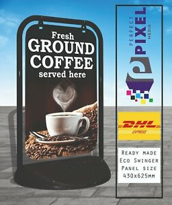 Freshly Ground Coffee Served Here Eco Swinger Pavement A Board Sign