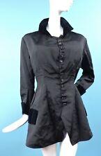 VICTORIAN 1870'S BLACK SILK BUSTLE BACK JACKET W SILK VELVET TRIMS FOR DRESS