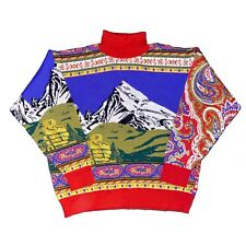 Vintage Kenzo Homme Turtleneck Sweater Paisley All Over Print RARE Pure Wool L