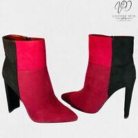 JustFab Women's Ankle Boots Saskia Burgundy Crescent Shaped Heels Size 5 Uk