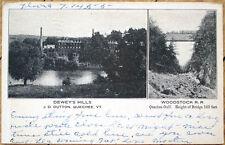 1905 Postcard: Dewey's Mills & Woodstock Railroad - Quechee, Vermont VT
