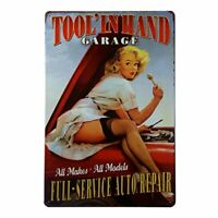 "Tool In Hand Garage Service Station Metal Tin Decorative Sign 8"" x 12"""
