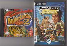 Theme Park Manager + RollerCoaster Tycoon 2 recreativas parque clásico colección PC