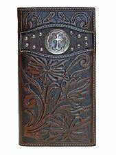 Ariat Rodeo Mens Wallet 11 Credit Card Tooled Cowboy Cross  Leather Brown