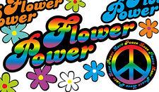 Blumen Aufkleber Hippie Blumen Autoaufkleber Flower Power: Love&Peace 01-Rainbow