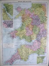 1934 LARGE MAP ~ ENGLAND WEST & WALES insets LIVERPOOL & BIRKENHEAD + BRISTOL